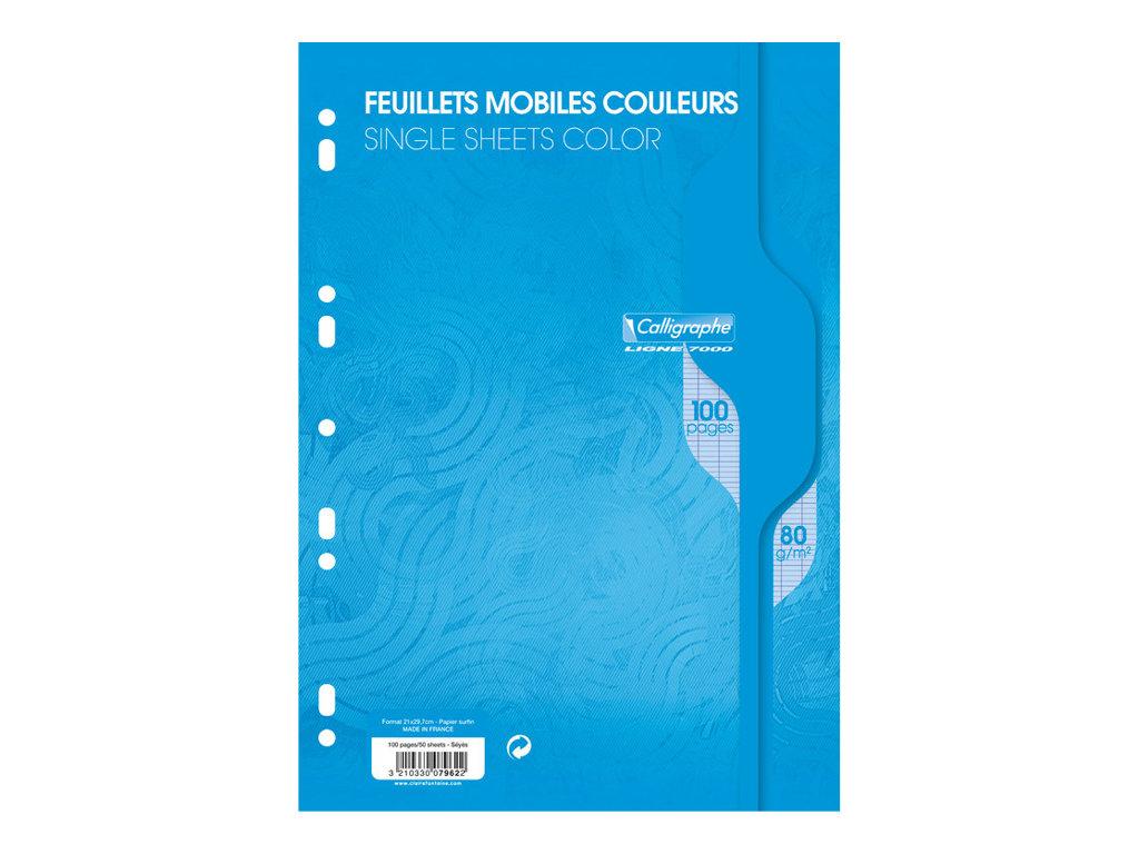 Calligraphe - 100 feuilles simples bleu grands carreaux A4 perforées