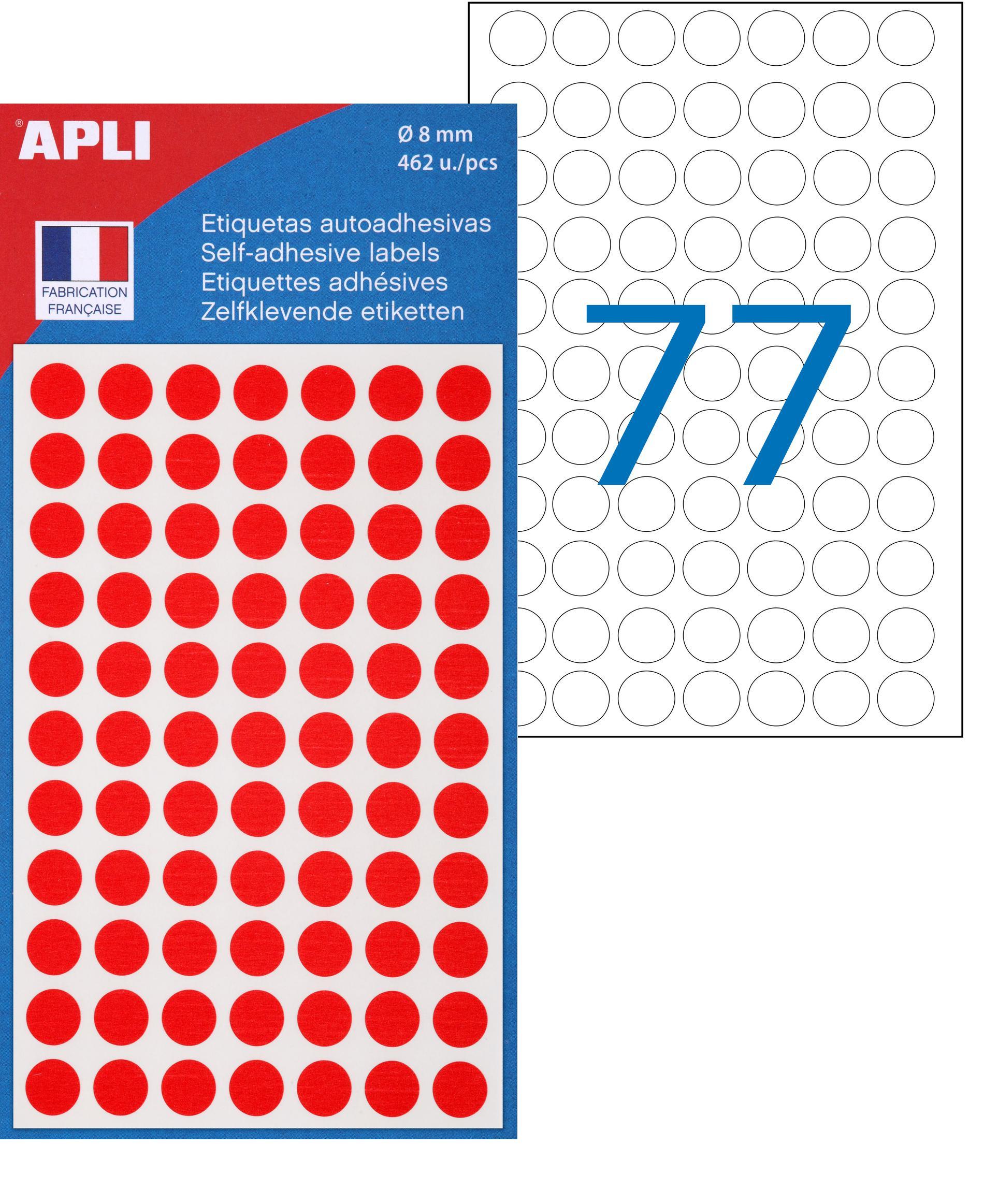 Apli Agipa - 462 Pastilles adhésives - rouge - diamètre 8 mm - réf 111833