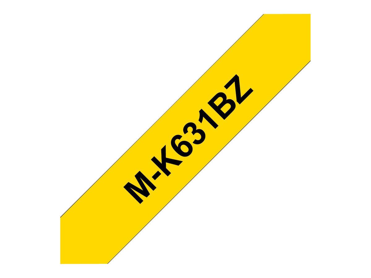 Brother MK631BZ - Ruban d'étiquettes papier auto-adhésives - 1 rouleau (9 mm x 8 m) - fond jaune écriture noire