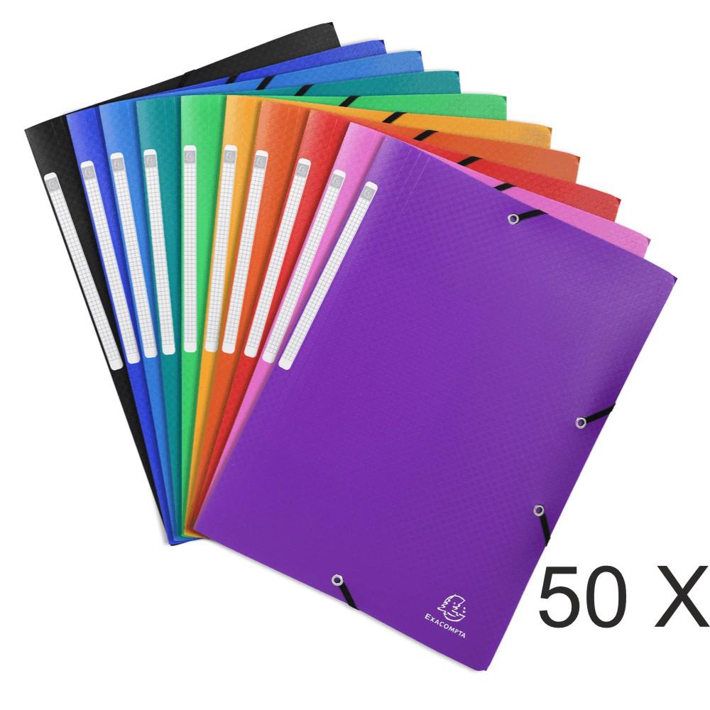 Exacompta Opak - 50 Chemises à 3 rabats polypro - A4 - couleurs assorties