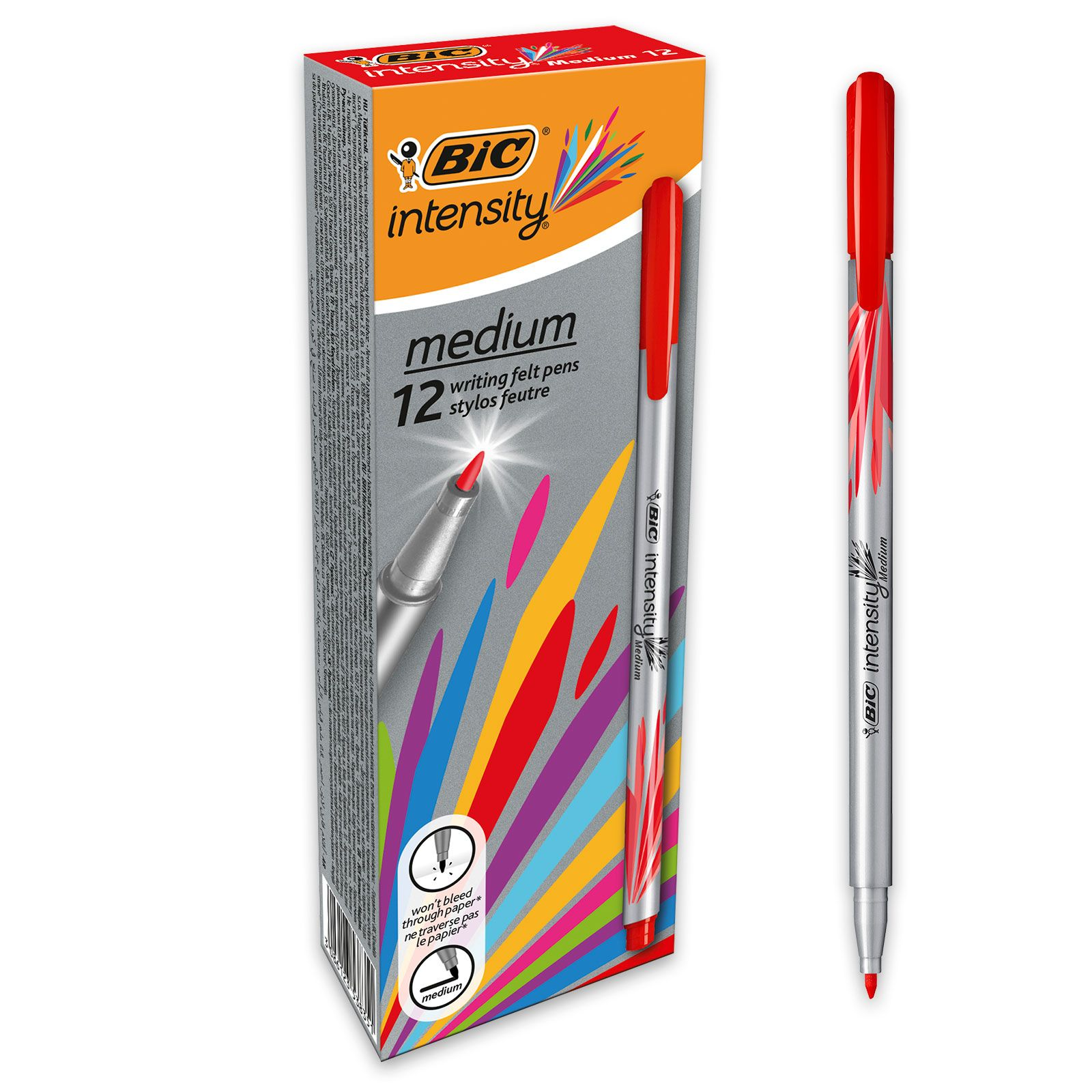 BIC Intensity - Pack de 12 - feutres fins - pointe moyenne - rouge