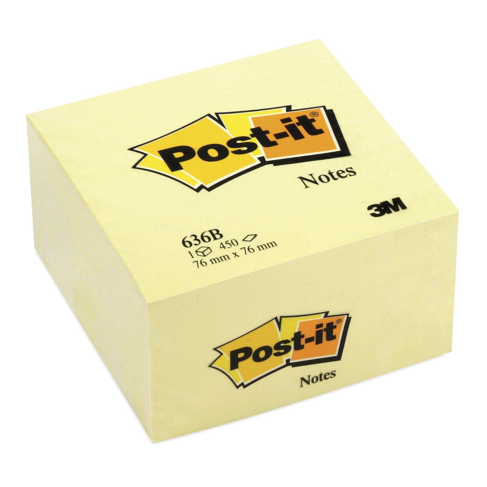 Post It - Bloc Cube - 76 x 76 mm - jaune Pastel