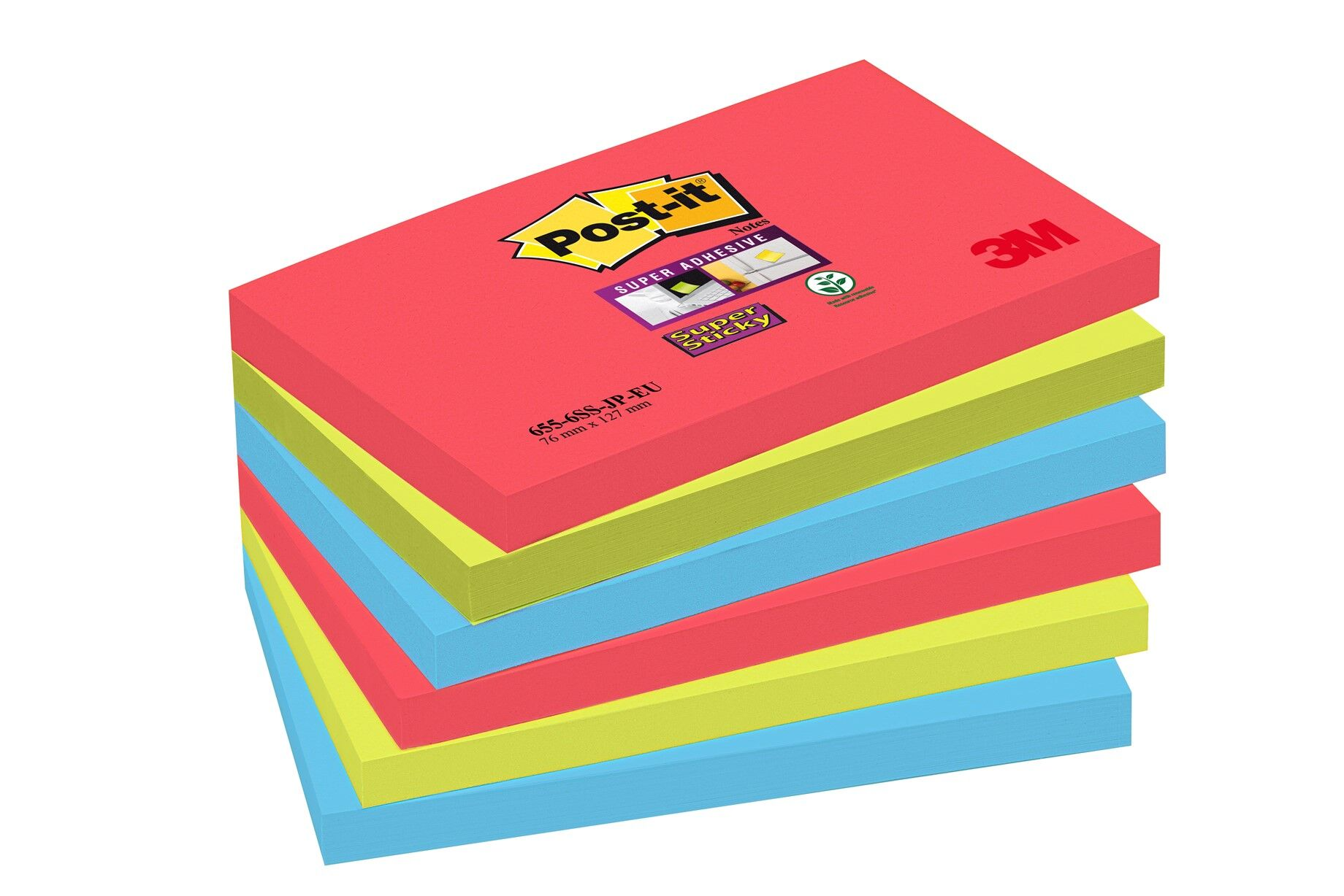 Post It - Pack de 6 Blocs - Notes Super Sticky - 76 x 127 mm - Bora Bora