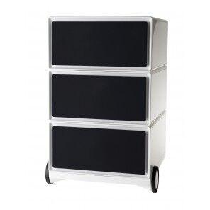 Caisson mobile EASYBOX pour Bureau - Blanc - 3 Tiroirs Noir