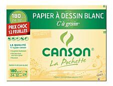 Canson - C à Grain format spécial - pochette papier à dessin  - 12 feuilles - 24 x 32 cm - 180G - blanc