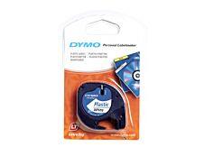 Dymo LetraTAG - Ruban d'étiquettes plastique auto-adhésives - 1 rouleau (12 mm x 4 m) - fond blanc écriture noire