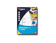 Agipa - Etui A5 - 48 Étiquettes d'expédition blanches - 64 x 133 mm - réf 114139