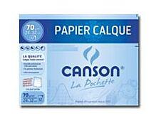 Canson - pochette papier à dessin  calque - 12 feuilles - 24 x 32 cm - 70G - blanc