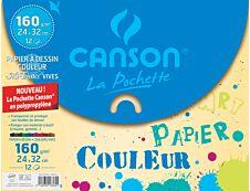 Canson - Pochette papier à dessin - 12 feuilles - 24 x 32 cm - 160 gr - mi-teintes vives - pochette en polypropylène