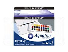 Daler-Rowney Aquafine - Peinture extra fine 24 demi-godets - couleurs assorties (set de voyage)