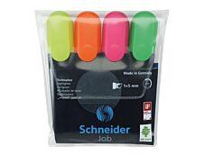 Schneider Job - Pack de 4 surligneurs - couleurs assorties