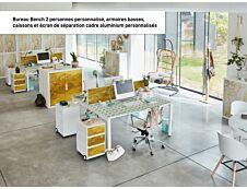 Bureau Bench 2 personnes EASYDESK - soit 2 plateaux L140xP60xH75 cm (L140 x P126) - Blanc