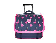 Phileas - Cartable à roulettes Flamants roses 38 cm - 2 compartiments - marine  - Bagtrotter