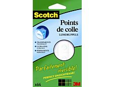 Scotch Invisible dots - Pastilles adhésives : pack de 64 pastilles