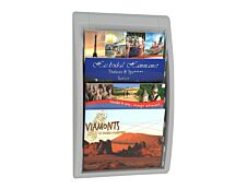 Présentoir mural Quick Fit pour documents 24 x 32 cm paysage - 4 compartiments - gris/transparent