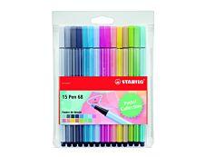 STABILO Pen 68 - 15 feutres  pointe moyenne - coloris pastel