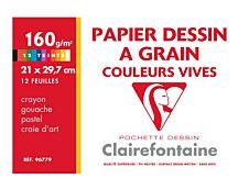 Clairefontaine Etival - Pochette papier à dessin - 12 feuilles - A4 - 160 gr - couleurs vives