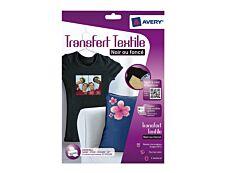 Avery - Papier transfert sur T-shirt/Textile foncé - 4 feuilles A4 - impression jet d'encre