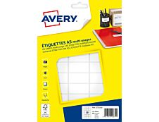 Avery - Etui A5 - 480 Étiquettes multi-usages blanches - 19 x 38 mm - réf ETE030