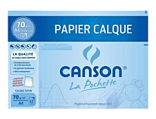 Canson format spécial - pochette papier à dessin  calque - 12 feuilles - 24 x 32 cm - 70G - blanc