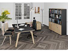 Bureau WOODY Manager - L180 x P100 x H72,5 cm - pieds chêne traverse carbone - plateau imitation Chêne clair