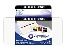 Daler-Rowney Aquafine - Peinture aquarelle 12 1/2 godets - couleurs assorties (set de voyage)