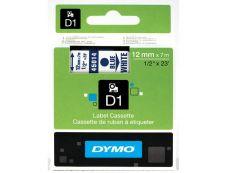 Dymo D1 - Ruban d'étiquettes auto-adhésives - 1 rouleau (12 mm x 7 m) - fond blanc écriture bleue