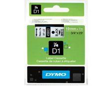 Dymo D1 - Ruban d'étiquettes auto-adhésives - 1 rouleau (19 mm x 7 m) - fond blanc écriture noire
