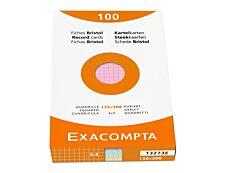 Exacompta - Pack de 100 Fiches Bristol - 12,5 x 20 cm - petits carreaux - non perforées - couleurs assorties