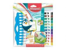 Maped Marker'Peps - Pack de 12 marqueurs effaçables - pointe fine - couleurs assorties