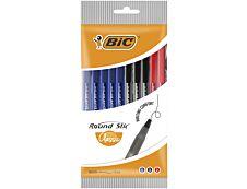 BIC Round Stic - Pack de 10 stylos à bille - couleurs assorties