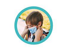50 masques chirurgicaux 3 plis pour enfants - bleu