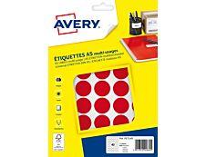 Avery - Etui A5 - 400 Pastilles adhésives - rouge - diamètre 24 mm