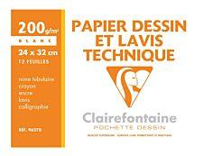 Clairefontaine Fine Arts - Pochette papier à dessin - 12 feuilles - 24 x 32 cm