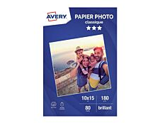 Avery - Papier Photo brillant - 10 x 15 cm - 180 g/m² - impression jet d'encre - 80 feuilles