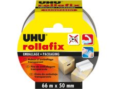 UHU rollafix - Ruban adhésif d'emballage - 50 mm x 66 m - transparent