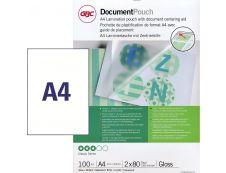GBC - 100 pochettes de plastification A4 (216 x 303 mm) - 80 microns - brillantes