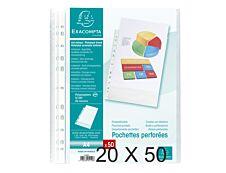 Exacompta - 20 Packs de 50 Pochettes perforées - A4 - grainées - 5/100