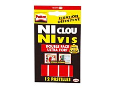 Pattex NI CLOU NI VIS - 12 pastilles adhésives - transparentes