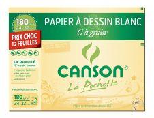 Canson C à grain format spécial - Pochette papier à dessin - 12 feuilles - 24 x 32 cm - 180 gr - blanc