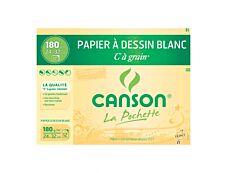 Canson C à grain - Pochette papier à dessin - 12 feuilles - 24 x 32 cm - 180 gr - blanc