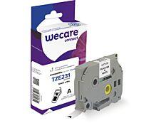 WECARE - Ruban d'étiquettes auto-adhésives pour Brother TZe231 - 1 rouleau (12 mm x 8 m) - fond blanc écriture noire