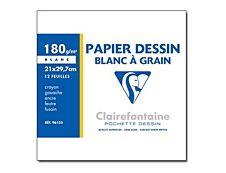 Clairefontaine - Dessin à Grain - pochette papier à dessin  - 12 feuilles - A4 - 180G - blanc