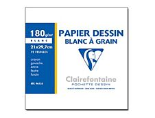 Clairefontaine Dessin à Grain - Pochette papier à dessin - 12 feuilles - A4 - 180 gr - blanc