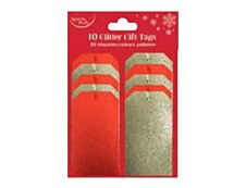 Clairefontaine Eurowrap - 10 Étiquettes cadeau pailletées - rouge/or