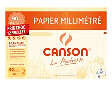 Canson - format spécial - pochette papier à dessin  millimétré - 12 feuilles - A4 - 90G