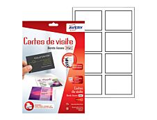 Avery - Papier pour 80 cartes de visite à bords lisses 85 x 54 mm - 260 g/m² - impression jet d'encre - 10 feuilles