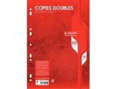 Calligraphe - 200 copies doubles A4 - grands carreaux (Seyes) - perforées