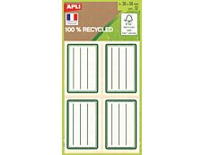Apli - 32 Étiquettes scolaires 100% recyclées cadre et lignes verts - 36 x 56 mm - réf 101343