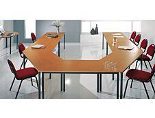 Table modulaire rectangulaire - L120 x H74 x P60 cm - imitation hêtre